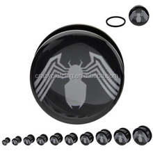 Acrylic Piercing Screw Fit White Spider Man Logo Tunnel Plug