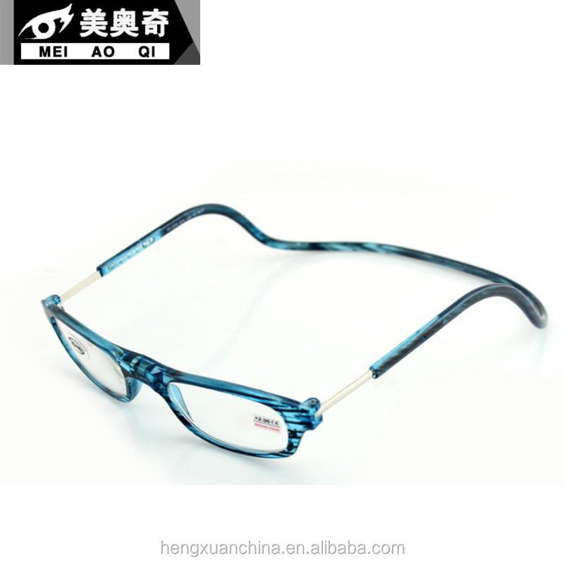 new design plastic magnetic reading glasses hung around