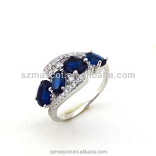 2015 Wholesale Cheap White Gold Plating Fashion Women Finger Wedding Gemstone Ring