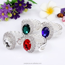 New Arrival Oval Faceted Glass Beads Silver Stretch Rings , Ruby/ Sapphire/ Crystal/ Emerald