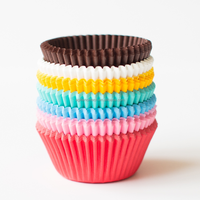 2015 Single Wall Style and Cup Type Rainbow Solid Colored Cupcake Liners