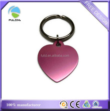 custom pink heart anodized aluminum metal blank laser engrave keychain