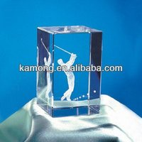 Optical Glass Classics Internal Laser Engraving Golfer For Crystal Crafts