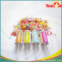 party favor decoration multicolored star shaped PVC inside push pop containers confetti