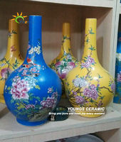 Chinese antique qing dynasty yellow ceramic vases for luxury collection