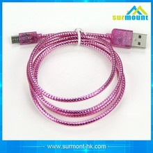 2015 wholesale Best Price Colorful 1M double mini usb cable for Android