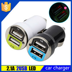 Car accessories 12v car battery charger 2.1a 1a for ipad 5 charger