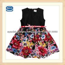 Negro 2014 2-8y nuevo estilo sin mangas con cinturón casual flor niñas vestido de verano( h4773)