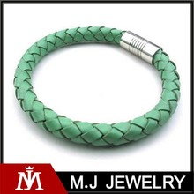 Summer Bohemia Candy Color Leather Bracelet Stainless Steel Braided Wrap Bracelet for Girls