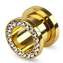 2015 China Hot Sale Rim clear gems anodized Gold stainless steel ear tunnels stretchers piercing Jewelry