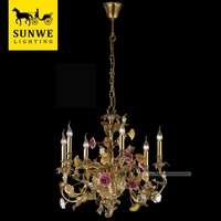 Rococo Country Style 6 Pendant Lights purple Rose Flowers Bronze Ceramic Living Room chandelier ceiling lamp