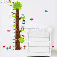 colorcasa ZYCD003 kids room sticker height mearurement sticker tree growth chart 3d animal wall decor