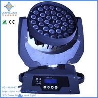 36*10w RGBW 4in1 zoom LED moving head light,stage moving lights with remote switch and rechargeable battery