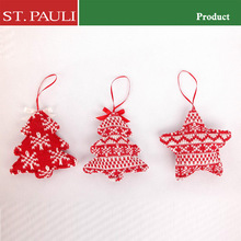 """4"""" red white color series woolen christmas tree and star knitted christmas tree decorations"""