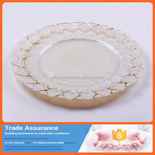 New fancy design gold bead glass plate big round decorative dinner glass plates charger plates