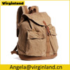 6604 Classic Khaki Canvas Rucksack Durable Backpack Back Pack Book for School & Travel