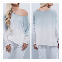 2015 New Autumn Ombre Tie Dye Slouchy Loose Indian Tunic Tops for Women NT6765