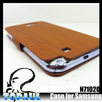 Beautiful Stand PU Wood Grain Phone Case for Samsung Galaxy Note2