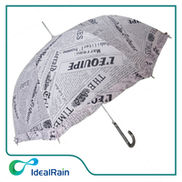 auto open straight custom design newpaper print umbrella with ruffles