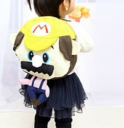 EN71 factory plush Mario Bros backpack stuffed cartoon backpack for kids