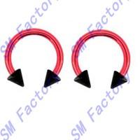 pair of red titanium with black spike beads horseshoe lip tragus belly eyebrow ear nipple ring 16 gauge --- SMRH43030
