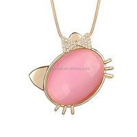 N1139 Free shipping necklace with opal stone Fashion Cat Necklace With Floating Charm Pendant Lovely Necklace For Girls