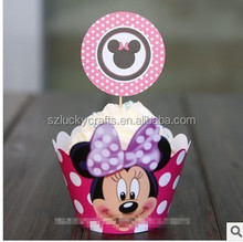 Cute Pink Minnie muffin cupcake wrappers&toppers picks decoration for kids baby birthday wedding party supplies