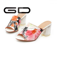 Women Open Toe printing sweet style High Heels Slippers for girls
