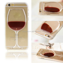 2015 New TPU transparent Red wine Cocktail 3d Liquid phone case cover for iphone 6