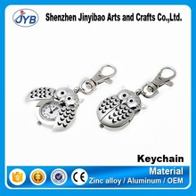 custom logo new design clock metal owl shape keychain manufacturer