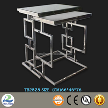Metal Beveled Mirror Glass Tea/Coffee Table