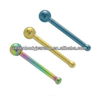 316L stainless steel plated titanium indian nose stud body piercing jewelry