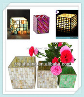 L10*W6*H10CM Tepered Glass Piece Handmade Decorative Mosaica Square Tube Glass Candle Holder