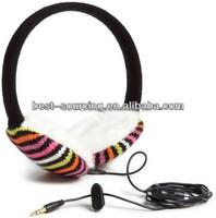 Wholesale knit warm unisex plush/fleece/acrylic heated earmuff earphone