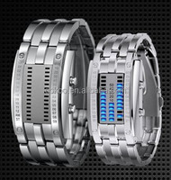 Lava Style Iron Samurai All Metal Red Blue LED Faceless Watches Unisex Sport Watch Led