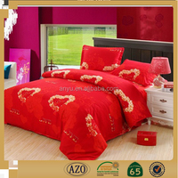 Romantic red fabric heart printed wedding bedding set