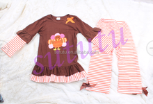 Cheap wholesale newborn cute turkey long sleeve outfit thanksgiving name brand custom girls set wholesale baby clothes supplier