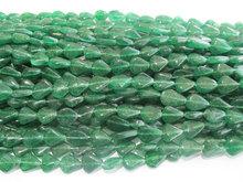 forma de pera natural aventurina verde recta taladro peras perlas strand pulgadas 13