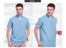 solid color/Chinese style comfort casual men's shirt/ comfort casual short sleeveTshirt/latest design men shirts of 2015