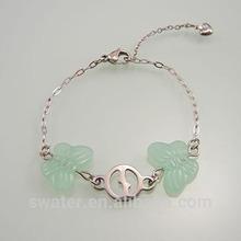 baratos de luz verde de la mariposa de jade pulseras del encanto de china
