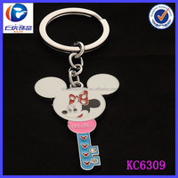 Popular Mickey Mouse Head Design Metal Key Shaped Keyring
