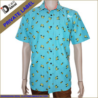 Polycotton green oxford men's short sleeve printing casual shirt