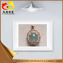 Charming sunflower 925 sterling silver natural jadite pendant