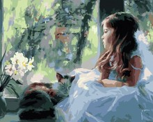 GX6920 abstract oil painting by numbers canvas oil painting little girl design yiwu factory paint boy brand