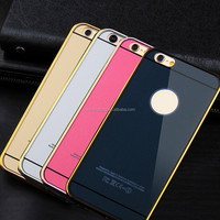 "metal frame pc back bumper cover mobile phone case for i phone 6 4.7"" 5.5"" 5 5S"