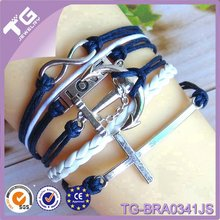 Faith love hope wholesale ceramic crosses leather bracelet