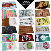 Fast deliver 3D digital print wholesale folding interesting funny printed beach towel