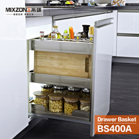 Spice Basket OEM Factory Pull Out Closet Organizer Kitchen Cabinet Condiment Sliding Basket Two Tiers Spice Bottle Rack BS400A
