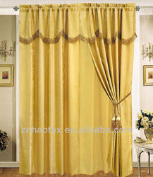 luxury yellow colored jacquard 100 polyester imported curtains
