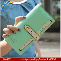 Latest long strap holder type ladies design purse Dicount fashion wallet with dot